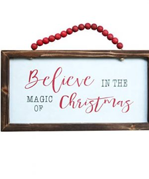 NIKKY HOME Wood Framed Christmas Hanging Wall Sign Plaque For Holiday Decor Believe In The Magic Of Christmas 16 X 8 0 300x360