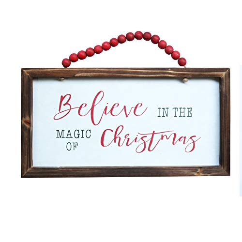 NIKKY HOME Wood Framed Christmas Hanging Wall Sign Plaque For Holiday Decor Believe In The Magic Of Christmas 16 X 8 0