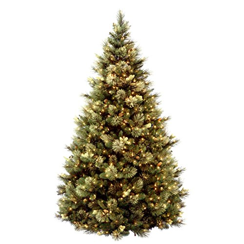 National Tree 75 Foot Carolina Pine Tree With Flocked Cones And 750 Clear Lights Hinged CAP3 306 75 0 0