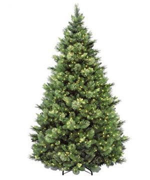 National Tree 75 Foot Carolina Pine Tree With Flocked Cones And 750 Clear Lights Hinged CAP3 306 75 0 300x360