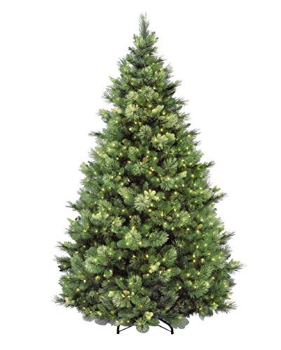 National Tree 75 Foot Carolina Pine Tree With Flocked Cones And 750 Clear Lights Hinged CAP3 306 75 0