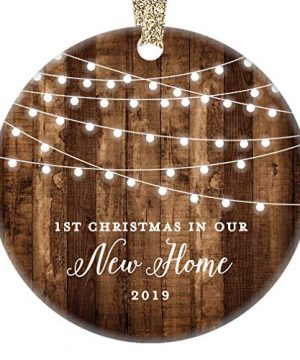 New Home 2019 Ornament Housewarming 1st Christmas In Our New House Rustic Farmhouse Ceramic Collectible Homeowner Present Real Estate Agent 3 Flat Circle Porcelain Gold Ribbon Free Gift Box OR00538 0 300x360