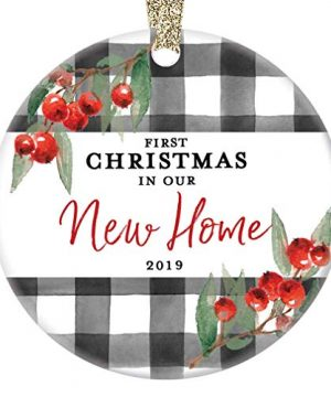 New Home Ornament Christmas 2019 First 1st Time Homeowner Ceramic Collectible Recent House Buyer Present For Family Relative Friend 3 Flat Porcelain Holiday Keepsake With Gold Ribbon Free Gift Box 0 300x360