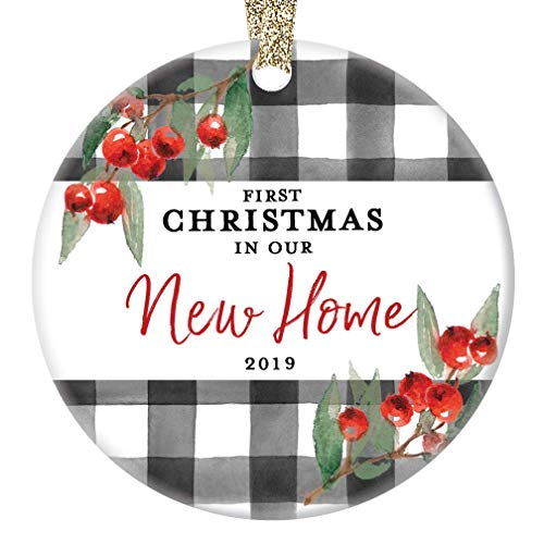 New Home Ornament Christmas 2019 First 1st Time Homeowner Ceramic Collectible Recent House Buyer Present For Family Relative Friend 3 Flat Porcelain Holiday Keepsake With Gold Ribbon Free Gift Box 0