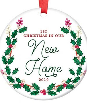 New House Ornament 2019 1st Christmas In Our New Home Dated Year First Homeowners Ceramic Present Congratulations Keepsake Real Estate Agent 3 Flat Circle Porcelain With Red Ribbon Free Gift Box 0 300x360