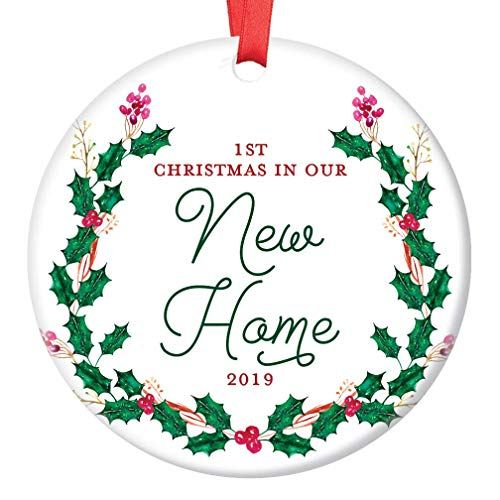 New House Ornament 2019 1st Christmas In Our New Home Dated Year First Homeowners Ceramic Present Congratulations Keepsake Real Estate Agent 3 Flat Circle Porcelain With Red Ribbon Free Gift Box 0