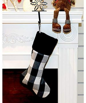 New Traditions Simplify Your Holiday 19 Black And White Buffalo Check Plaid Christmas Stockings With Black Faux Fur Cuff And Matching 48 Tree Skirt 0 0 300x360