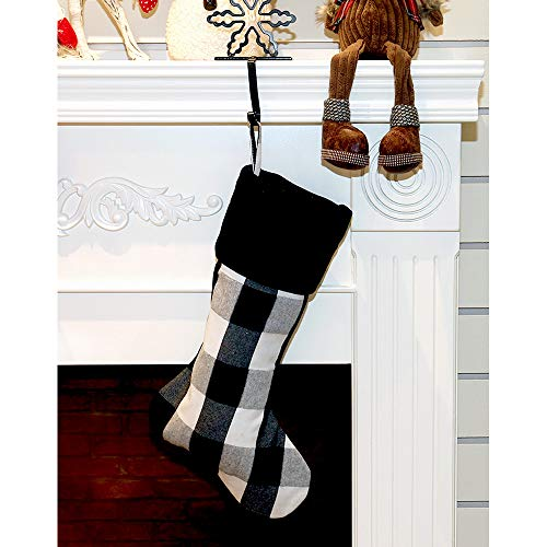 New Traditions Simplify Your Holiday 19 Black And White Buffalo Check Plaid Christmas Stockings With Black Faux Fur Cuff And Matching 48 Tree Skirt 0 0