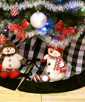 New Traditions Simplify Your Holiday 19 Black And White Buffalo Check Plaid Christmas Stockings With Black Faux Fur Cuff And Matching 48 Tree Skirt 0 1 300x360