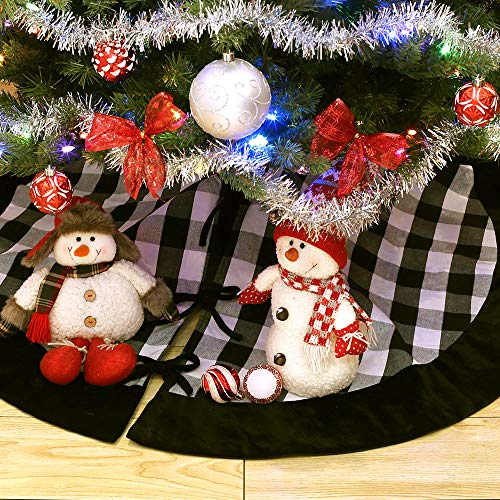 New Traditions Simplify Your Holiday 19 Black And White Buffalo Check Plaid Christmas Stockings With Black Faux Fur Cuff And Matching 48 Tree Skirt 0 1