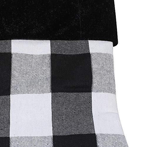 New Traditions Simplify Your Holiday 19 Black And White Buffalo Check Plaid Christmas Stockings With Black Faux Fur Cuff And Matching 48 Tree Skirt 0 2