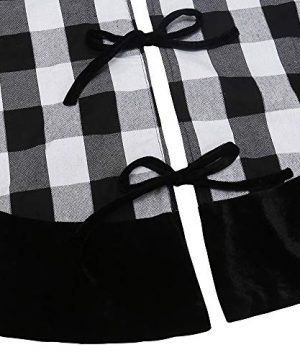 New Traditions Simplify Your Holiday 19 Black And White Buffalo Check Plaid Christmas Stockings With Black Faux Fur Cuff And Matching 48 Tree Skirt 0 4 300x360
