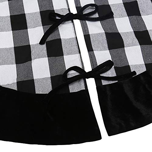 New Traditions Simplify Your Holiday 19 Black And White Buffalo Check Plaid Christmas Stockings With Black Faux Fur Cuff And Matching 48 Tree Skirt 0 4