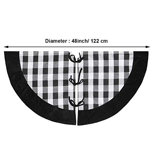 New Traditions Simplify Your Holiday 19 Black And White Buffalo Check Plaid Christmas Stockings With Black Faux Fur Cuff And Matching 48 Tree Skirt 0 5