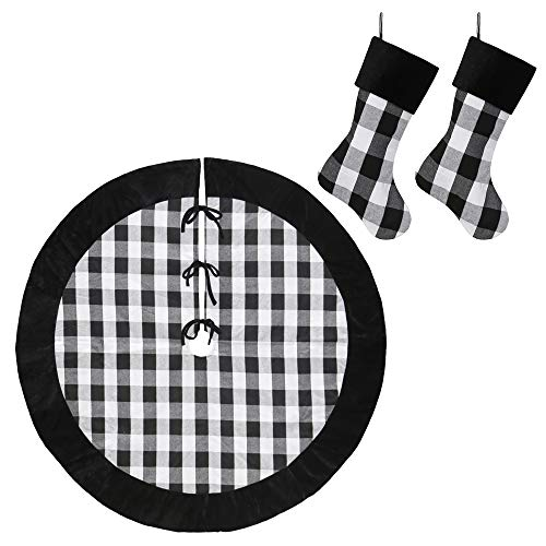 New Traditions Simplify Your Holiday 19 Black And White Buffalo Check Plaid Christmas Stockings With Black Faux Fur Cuff And Matching 48 Tree Skirt 0