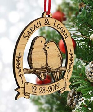 Newlywed Christmas Ornament Lovebirds Personalized Heart Tree Trunk Design Mr Mrs Wedding Date Name Engraved Couples Our First For Him Her Engagement Together Cute 0 0 300x360