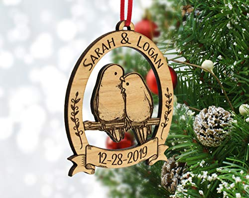 Newlywed Christmas Ornament Lovebirds Personalized Heart Tree Trunk Design Mr Mrs Wedding Date Name Engraved Couples Our First For Him Her Engagement Together Cute 0 0
