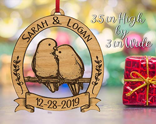 Newlywed Christmas Ornament Lovebirds Personalized Heart Tree Trunk Design Mr Mrs Wedding Date Name Engraved Couples Our First For Him Her Engagement Together Cute 0 1