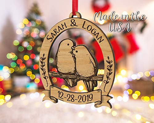 Newlywed Christmas Ornament Lovebirds Personalized Heart Tree Trunk Design Mr Mrs Wedding Date Name Engraved Couples Our First For Him Her Engagement Together Cute 0 2