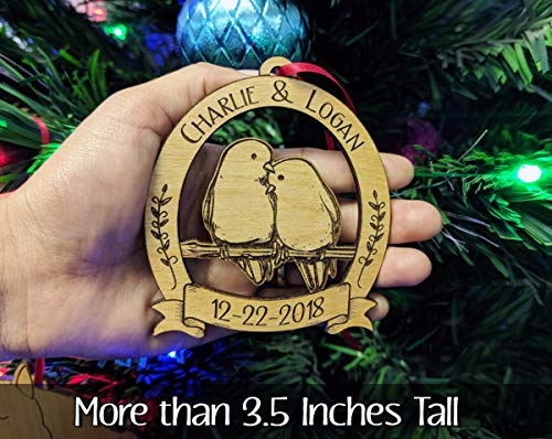 Newlywed Christmas Ornament Lovebirds Personalized Heart Tree Trunk Design Mr Mrs Wedding Date Name Engraved Couples Our First For Him Her Engagement Together Cute 0 3
