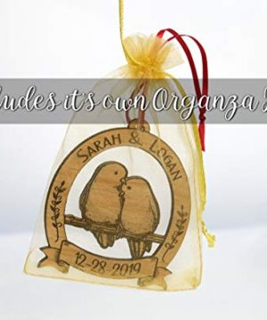 Newlywed Christmas Ornament Lovebirds Personalized Heart Tree Trunk Design Mr Mrs Wedding Date Name Engraved Couples Our First For Him Her Engagement Together Cute 0 4 300x360