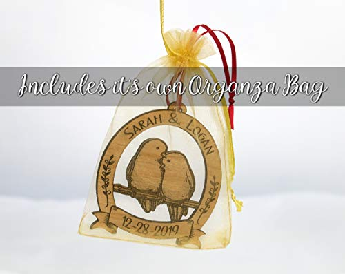 Newlywed Christmas Ornament Lovebirds Personalized Heart Tree Trunk Design Mr Mrs Wedding Date Name Engraved Couples Our First For Him Her Engagement Together Cute 0 4
