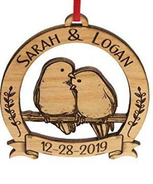 Newlywed Christmas Ornament Lovebirds Personalized Heart Tree Trunk Design Mr Mrs Wedding Date Name Engraved Couples Our First For Him Her Engagement Together Cute 0 5 300x360