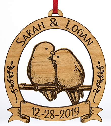 Newlywed Christmas Ornament Lovebirds Personalized Heart Tree Trunk Design Mr Mrs Wedding Date Name Engraved Couples Our First For Him Her Engagement Together Cute 0