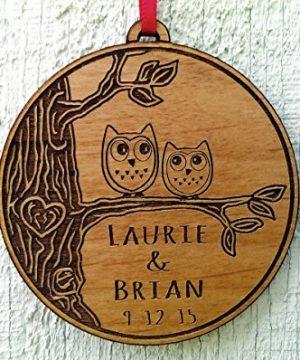 Newlywed Christmas Ornament Owl Love Birds Personalized Heart Tree 0 0 300x360