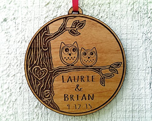 Newlywed Christmas Ornament Owl Love Birds Personalized Heart Tree 0 0
