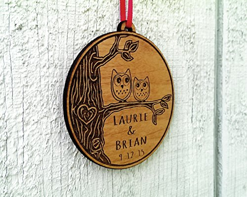 Newlywed Christmas Ornament Owl Love Birds Personalized Heart Tree 0 1