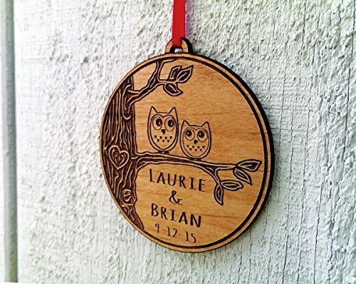 Newlywed Christmas Ornament Owl Love Birds Personalized Heart Tree 0 3