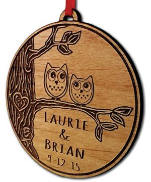 Newlywed Christmas Ornament Owl Love Birds Personalized Heart Tree 0 300x360