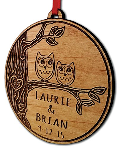 Newlywed Christmas Ornament Owl Love Birds Personalized Heart Tree 0