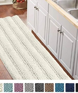 Non Slip KitchenBath Rug Runner Luxury Chenille Shaggy Bathroom Rug Mat Ivory White Bath Mat Ultra Soft And Cozy Super Absorbent Large Shaggy Rugs Washable Carpet Kitchen Mats 59x20 Ivory 0 300x360