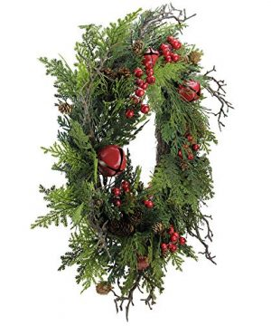 Northlight 24 Rustic Red Jingle Bell Berry And Pine Cone Artificial Christmas Wreath 0 0 300x360