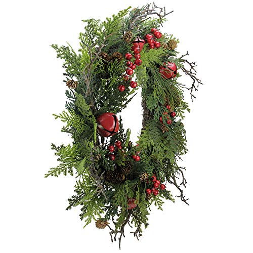 Northlight 24 Rustic Red Jingle Bell Berry And Pine Cone Artificial Christmas Wreath 0 0