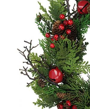 Northlight 24 Rustic Red Jingle Bell Berry And Pine Cone Artificial Christmas Wreath 0 1 300x360