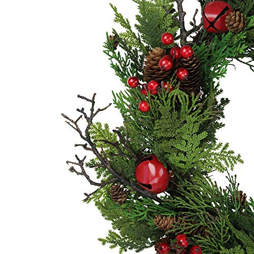 Northlight 24 Rustic Red Jingle Bell Berry And Pine Cone Artificial Christmas Wreath 0 1