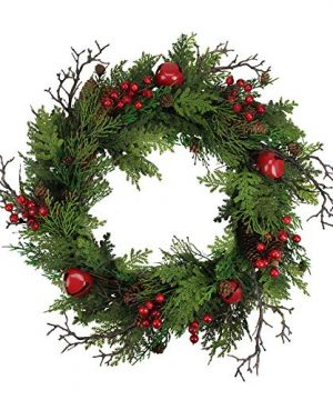 Northlight 24 Rustic Red Jingle Bell Berry And Pine Cone Artificial Christmas Wreath 0 300x360