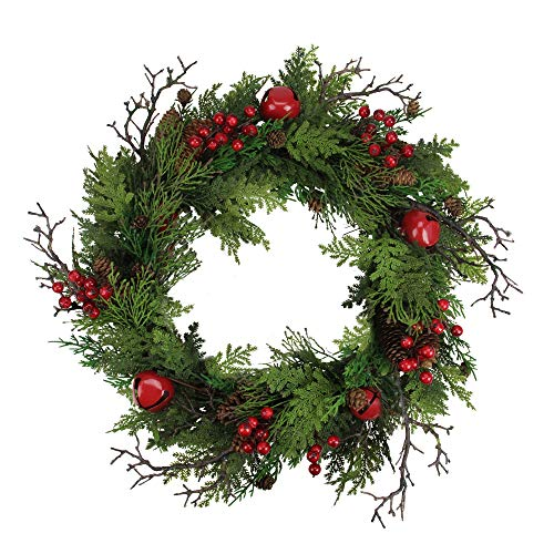 Northlight 24 Rustic Red Jingle Bell Berry And Pine Cone Artificial Christmas Wreath 0
