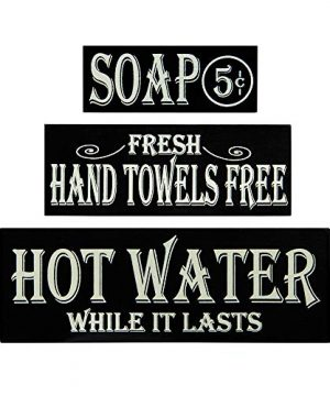 OHIO WHOLESALE INC Hot Water Hand Towels Soap Lot Of 3 Small Wood Block Signs Rustic Bath Country Vintage Look 0 300x360