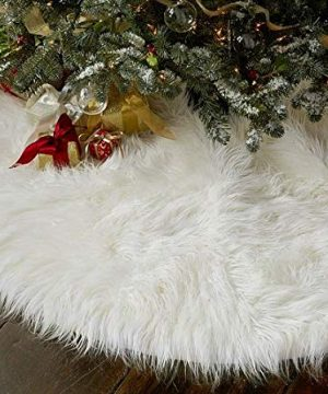 OLYPHAN Christmas Tree Skirt Large Snow White Luxury Faux Fur 48 Inches 4ft 36 Inch 3 Ft 30 Inch Round For Under Xmas Tree Decorations 36 Inches 3ft 0 3 300x360