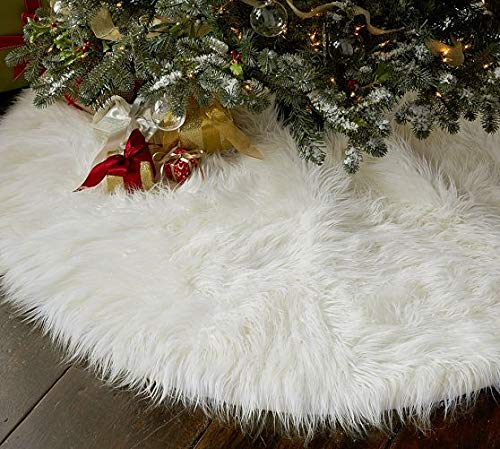 OLYPHAN Christmas Tree Skirt Large Snow White Luxury Faux Fur 48 Inches 4ft 36 Inch 3 Ft 30 Inch Round For Under Xmas Tree Decorations 36 Inches 3ft 0 3