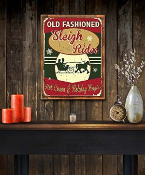 OMSC Wood Framed Old Fashioned Sleigh Rides Metal Sign Hot Cocoa Holiday Dcor Christmas Dcor Winter On Reclaimed Rustic Wood 0 0 300x360