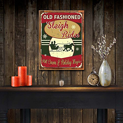 OMSC Wood Framed Old Fashioned Sleigh Rides Metal Sign Hot Cocoa Holiday Dcor Christmas Dcor Winter On Reclaimed Rustic Wood 0 0