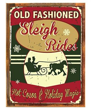 OMSC-Wood-Framed-Old-Fashioned-Sleigh-Rides-Metal-Sign-Hot-Cocoa-Holiday-Dcor-Christmas-Dcor-Winter-on-Reclaimed-Rustic-Wood-0