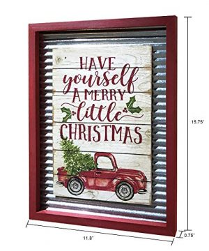 OUCHAN Christmas Galvanized Corrugated Distressed Frame Red Truck Wall Art Sign Plaque 0 0 300x360