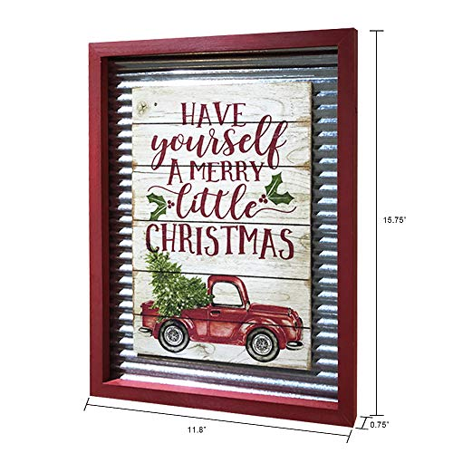 OUCHAN Christmas Galvanized Corrugated Distressed Frame Red Truck Wall Art Sign Plaque 0 0