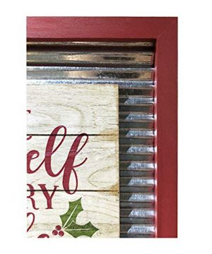 OUCHAN Christmas Galvanized Corrugated Distressed Frame Red Truck Wall Art Sign Plaque 0 1 300x360